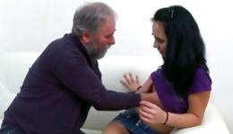 Charming cutie passionately sucking old dick of obscene old mister