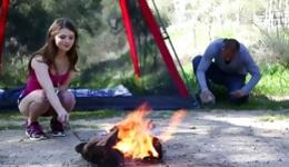 Young beauty babe outdoors having rough sex with a guy blowing him