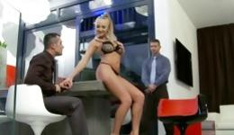 Sassy babe is involved in a dirty threesome right in the office banged