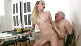 Watch on dirty threesome fucking with young blonde hot whore