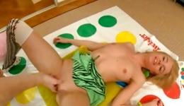 Hot blonde with small tits fucked rough after playing twister games