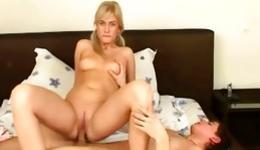 Stunning naked blonde is riding a tough dick and gets her boobs grabbed