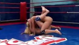 Two fascinating lassies having harsh coition on the boxing ring