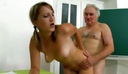 This kinky old teacher is horrible fucking the perfect thin beauty