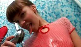 Arousing sluttish harlot is showering her beautiful spicy personage