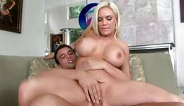 Light-haired spicy doxy holds her cum-hole blown off