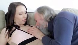 Racy and randy old chap is tenderly giving a French babe's spanking teats