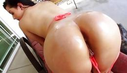 Steamy hoe in a G-string is getting her drilled with crude lollipop