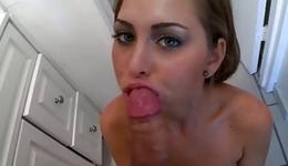 Golden haired charming harlot is giving a deepthroat