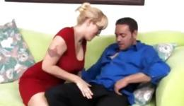 Nasty guy made this licentious and seductive woman to rub his thundersword