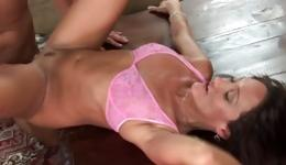 Sassy lady lying there masturbating her shaved pussy and gets pounded