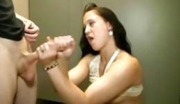 Cute whore knelt and gave amazing handjob to her horny guy
