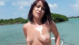 Brunette naughty whore is masturbating sexually her sweet cunt