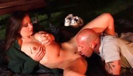 Hot naked babe is getting her sweet pussy hole destroyed outdoors