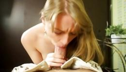 Lovely blonde is going extremely deep throat on a tough on a huge rod