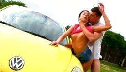 Sweet teen brunette is getting her pussy hole destroyed next to a car